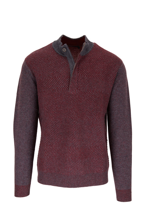 Raffi  Burgundy & Iron Quarter-Zip Pullover