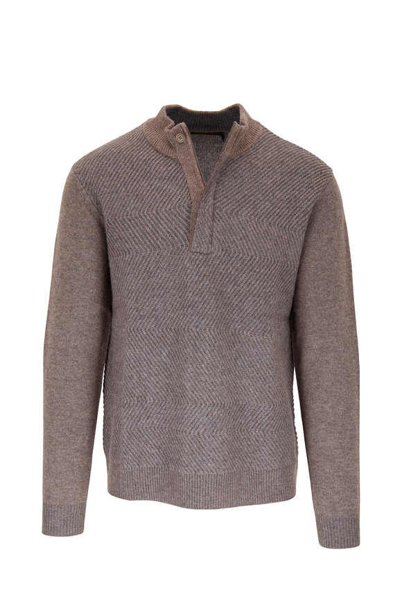 Raffi  Taupe Wool & Cashmere Quarter-Zip Pullover