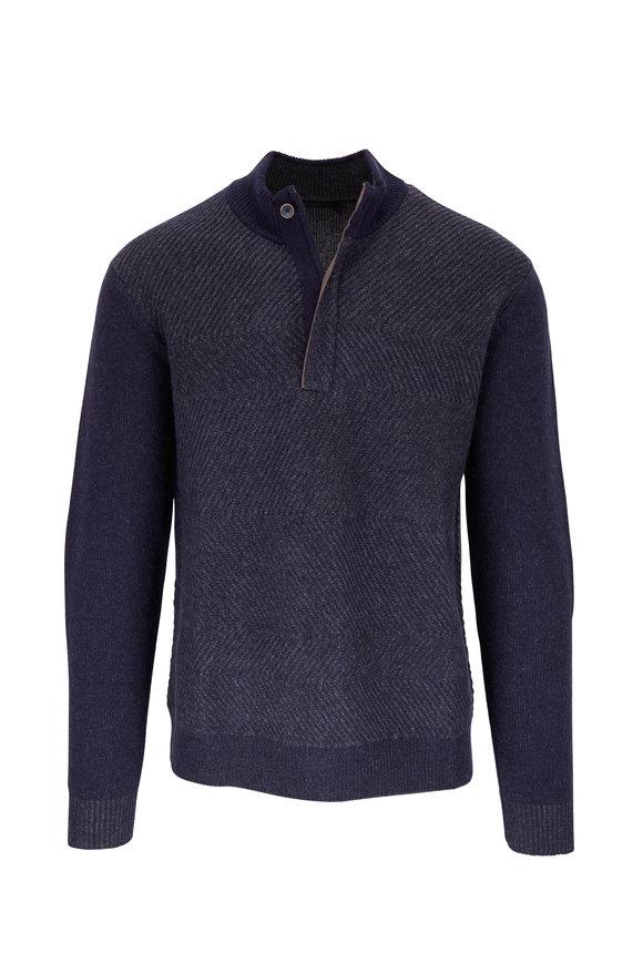 Raffi  Navy Wool & Cashmere Quarter-Zip Pullover