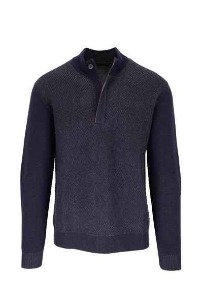 Raffi - Navy Wool & Cashmere Quarter-Zip Pullover