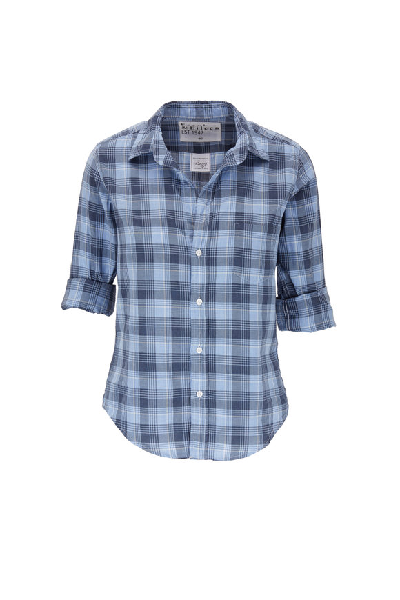 Frank & Eileen Barry Blue Small Plaid Button Down