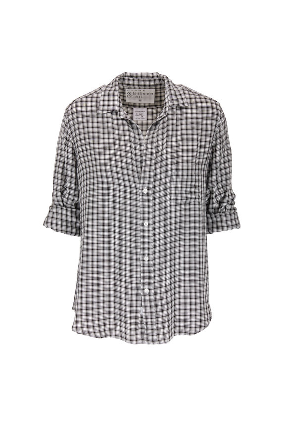 Frank & Eileen Eileen Fluid White & Black Plaid Button Down