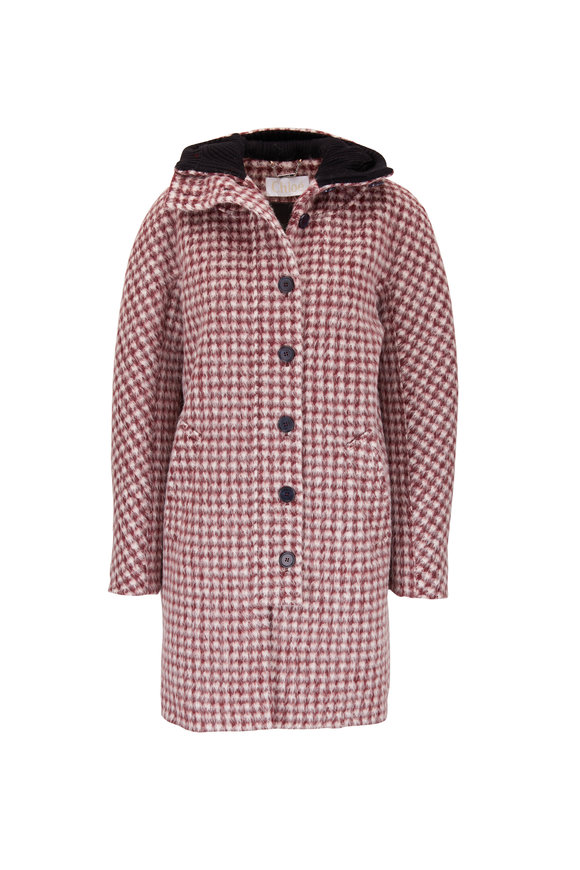 Chloé Red & White Houndstooth Alpaca & Wool Coat