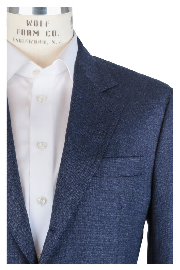 Brunello Cucinelli Navy Blue Wool Tick Suit
