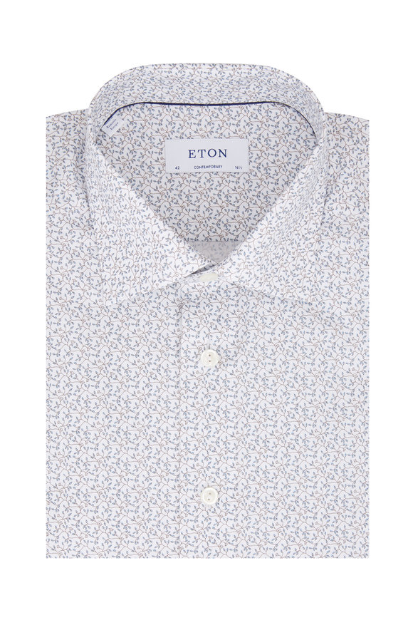 Eton Light Blue Floral Contemporary Fit Dress Shirt
