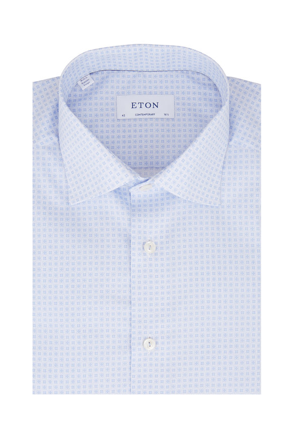 Eton Light Blue Micro Tile Contemporary Fit Sport Shirt
