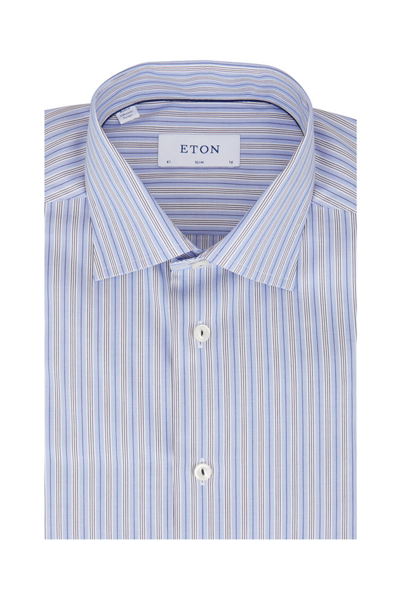 Eton Light Blue Striped Slim Fit Dress Shirt