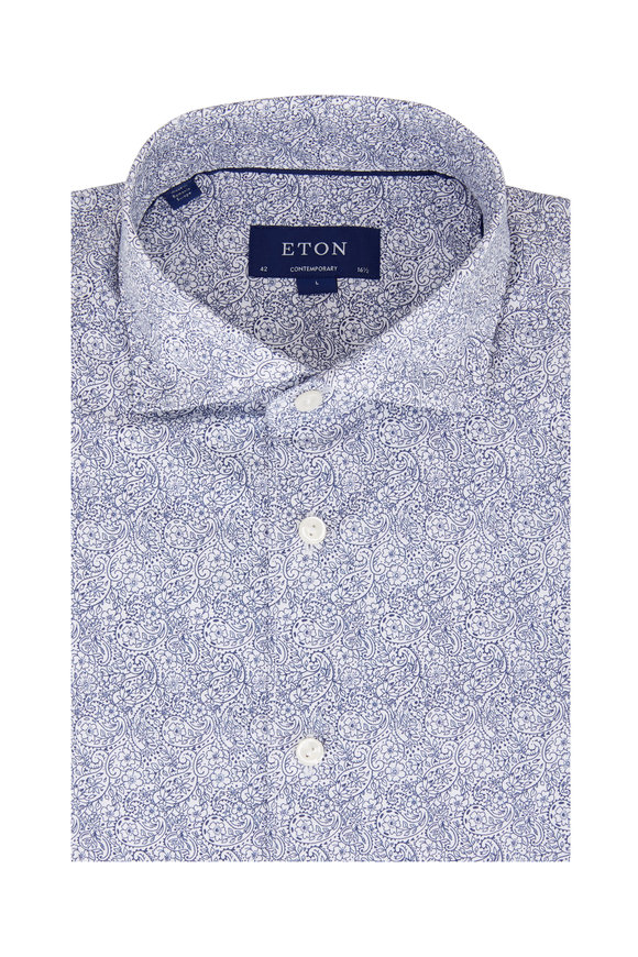 Eton Navy Blue Paisley Contemporary Fit Sport Shirt