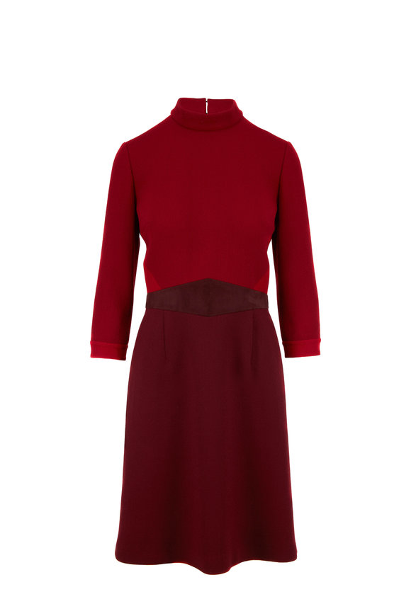 Olivine Gabbro Roman Red Scuba Three-Quarter Sleeve Dress