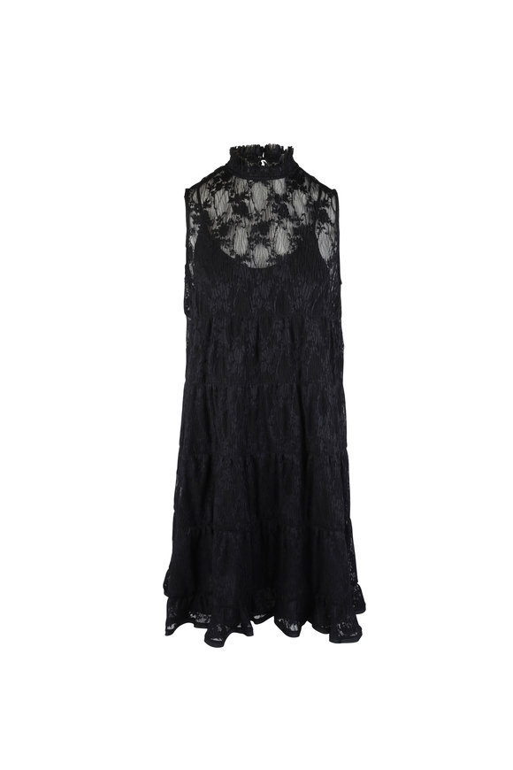 See by Chloé Black Lace Mockneck Sleeveless Dress