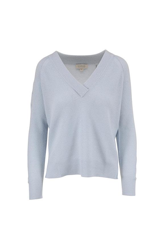 Kinross Celeste Ribbed Cashmere V-Neck Sweater