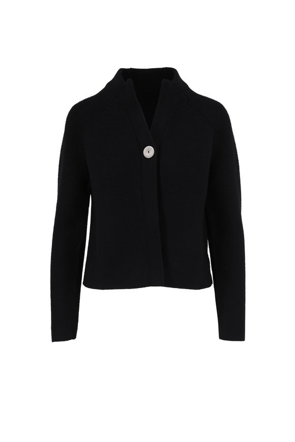 Kinross Black Chunky Cotton Single Button Cardigan
