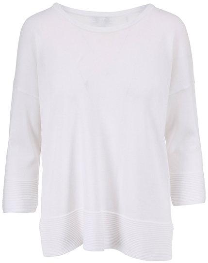 Kinross White Cotton Three-Quarter Sleeve Sweater