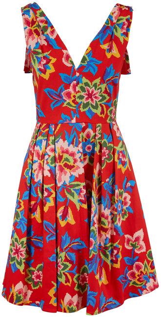 Carolina Herrera Chili Red Floral Cotton Back-Bow Sleeveless Dress