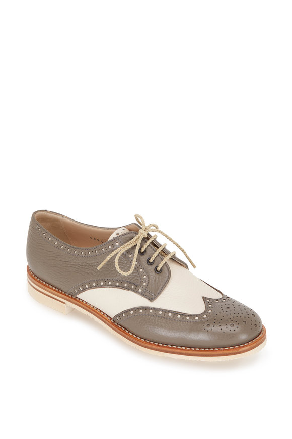 Gravati Mud & Cream Leather Lace-Up Wingtip