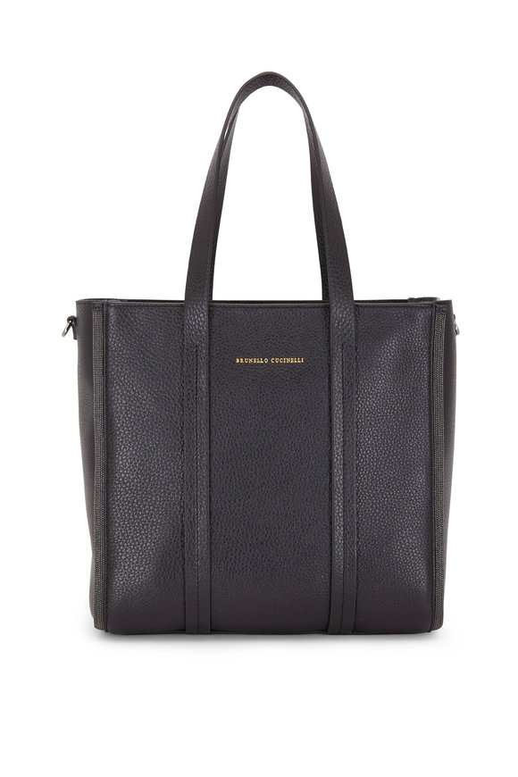 Brunello Cucinelli Exclusively Ours! Black Leather Small Shopper Tote