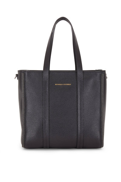 Brunello Cucinelli - Exclusively Ours! Black Leather Small Shopper Tote