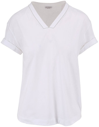 Brunello Cucinelli White Monili Trim V-Neck T-Shirt