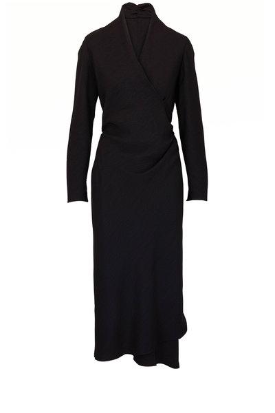 Peter Cohen - Tip Black Hammered Matte Silk Long Sleeve Dress