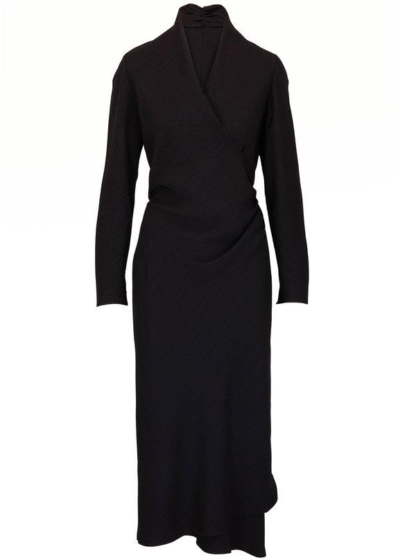 Peter Cohen Tip Black Hammered Matte Silk Long Sleeve Dress
