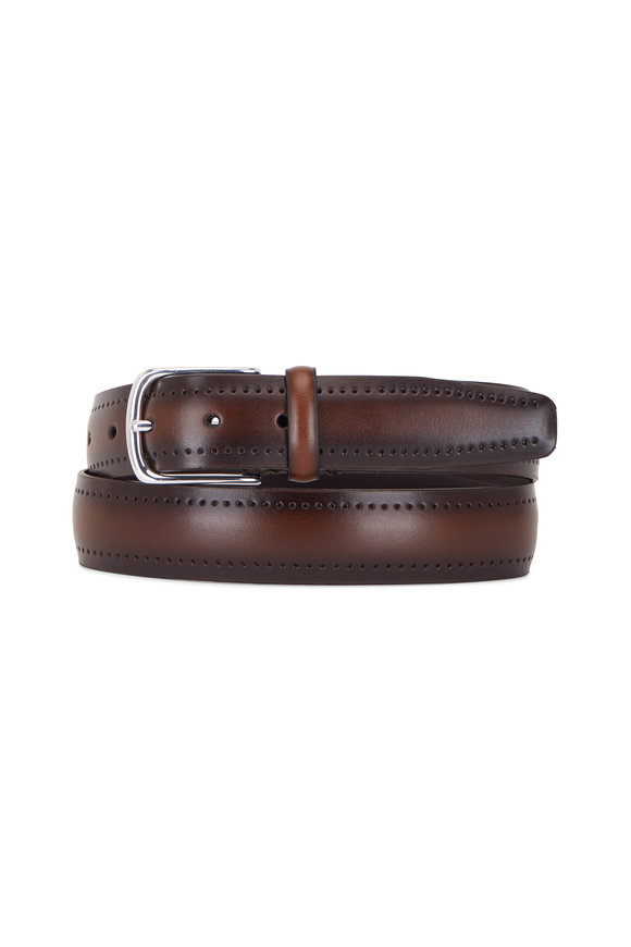 Paolo Vitale Cognac Leather Perforated Belt