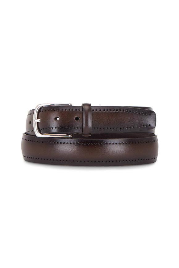 Paolo Vitale Dark Brown Perforated Leather Belt