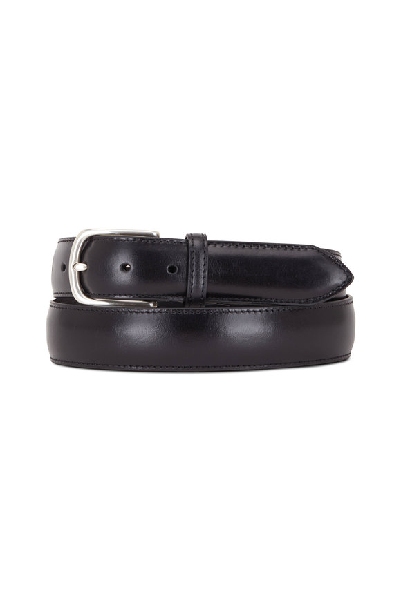 Paolo Vitale Black Smooth Leather Belt