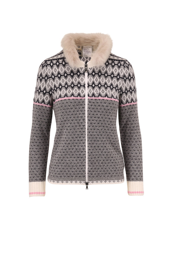 Bogner Leja Gray & White Fur Trim Zip Cardigan
