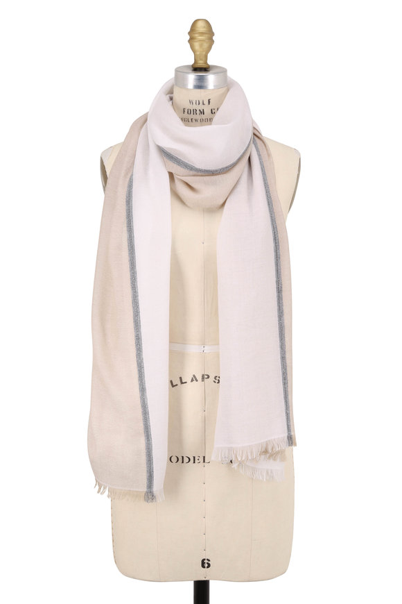 Brunello Cucinelli Sand & White Cashmere & Silk Monili Trim Scarf