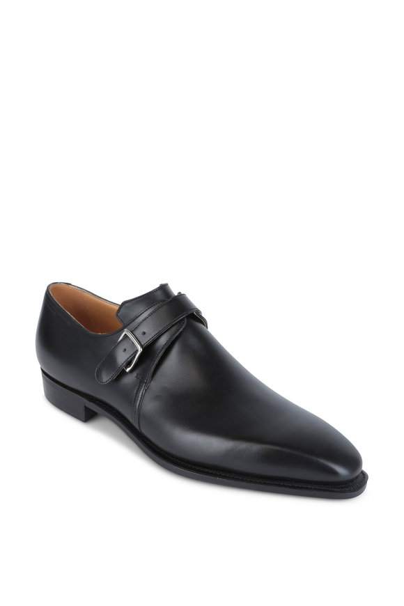 Corthay Pullman Arca Black Leather Monk Shoe