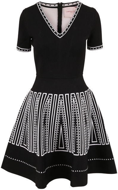 Carolina Herrera Black & White Short Sleeve Fit & Flare Knit Dress
