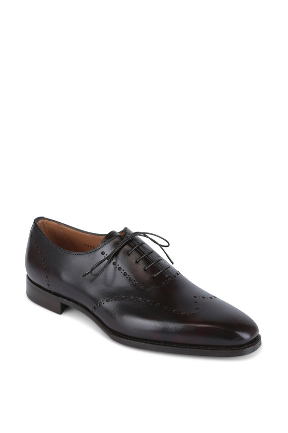 Gravati Burgundy Burnished Leather Brogue Oxford