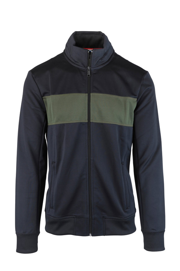 4 Laps Relay Black & Green Bold Striped Track Jacket