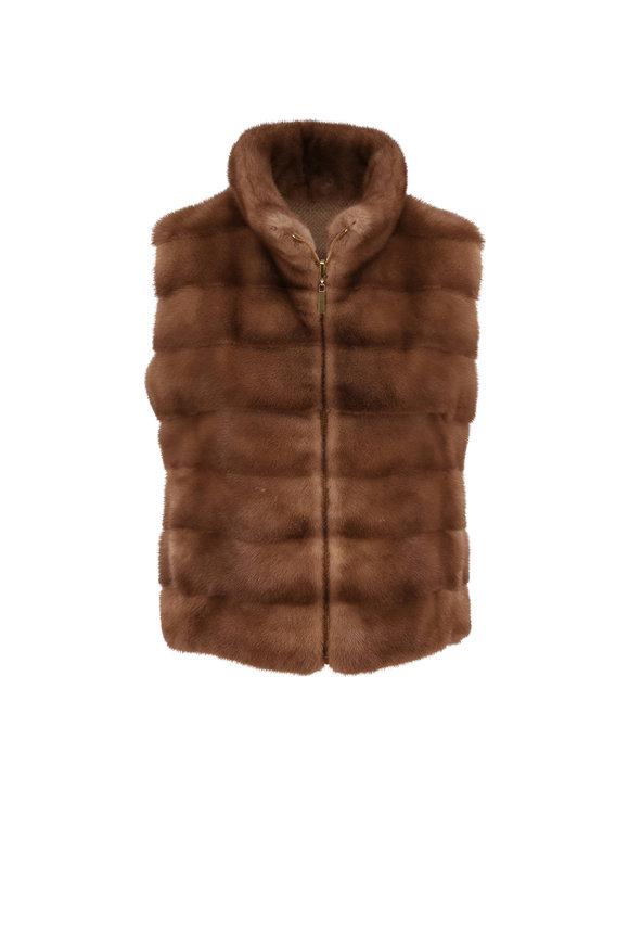 Oscar de la Renta Furs Pastel Mink & Cashmere Reversible Vest