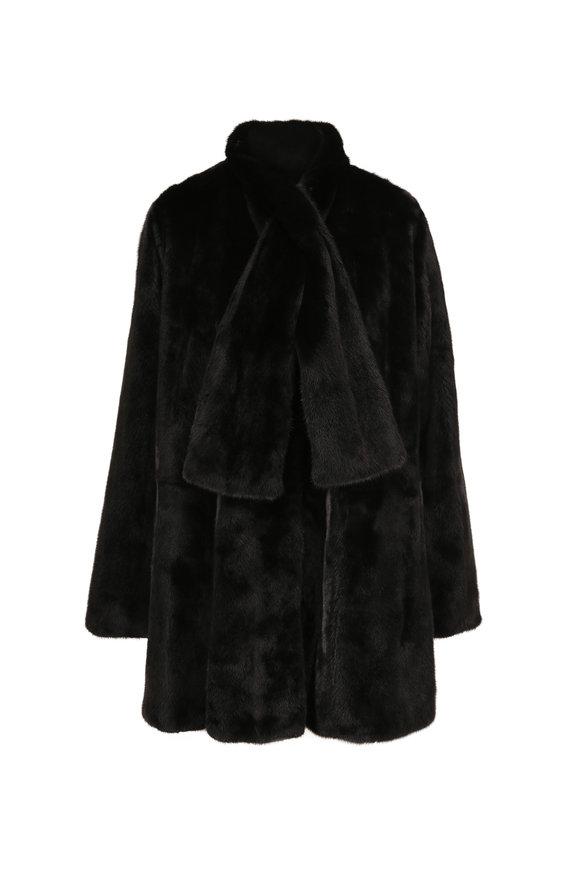 Oscar de la Renta Furs Black Mink & Taffeta Reversible Swing Coat