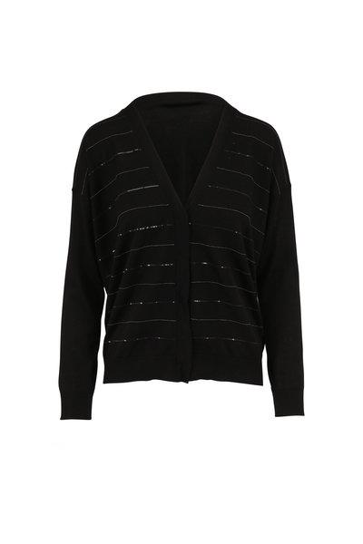 Brunello Cucinelli - Black Monili & Piallette Striped Cardigan