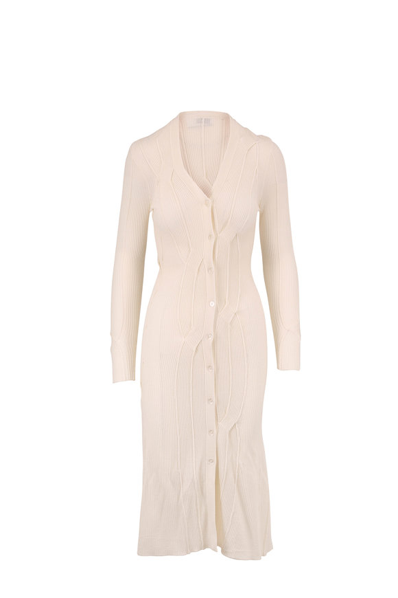 Rosetta Getty Ivory Reverse Cable Knit Long Cardigan