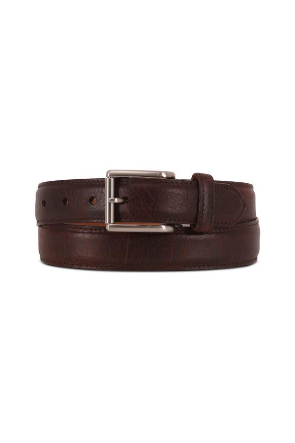 Peter Millar Brown Bison Leather Belt
