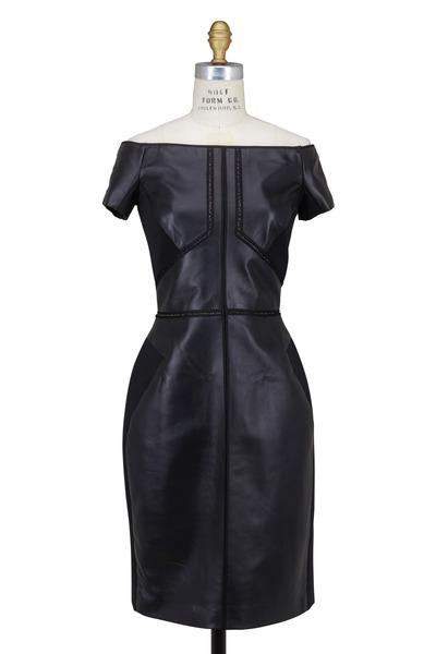 J. Mendel - Black Leather & Lace Off-Shoulder Dress