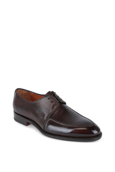 Bontoni - Solare Chocolate Hatch Grained Leather Derby Shoe