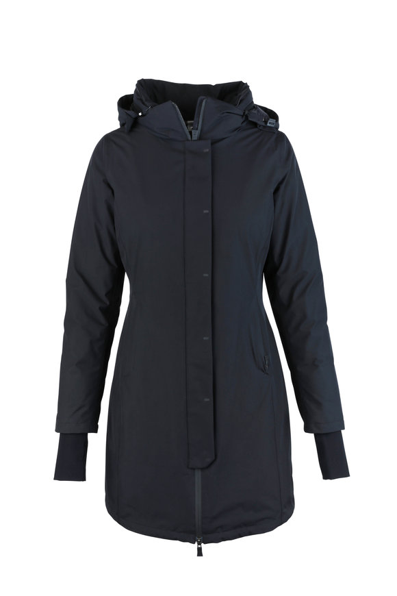 Herno Black Gortex Weatherproof Hooded Long Coat