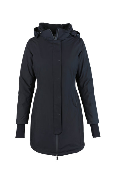 Herno - Black Gortex Weatherproof Hooded Long Coat