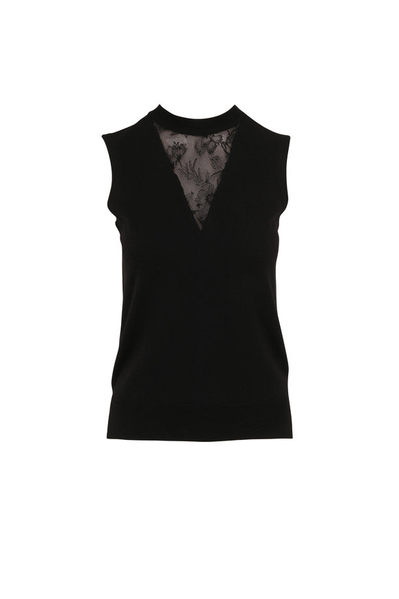 Adam Lippes Black Merino Wool Lace Inset Sleeveless Top