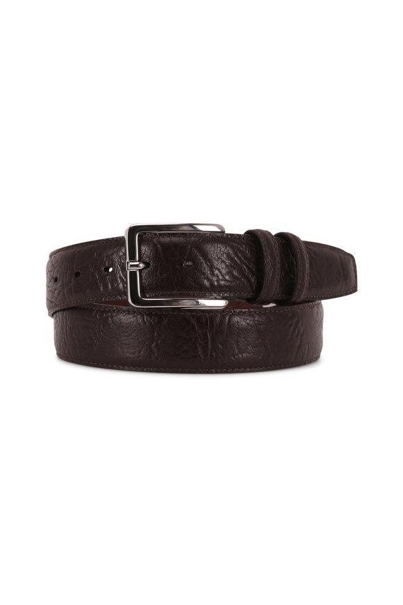 Torino Dark Brown Embossed Leather Belt