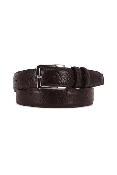 Torino - Dark Brown Embossed Leather Belt