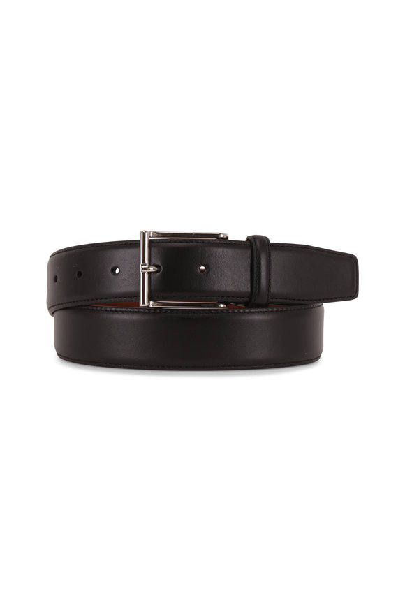 Santoni Atlas Black Leather Belt