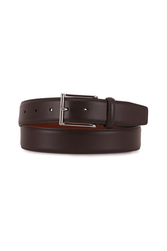 Santoni Dark Brown Leather Belt