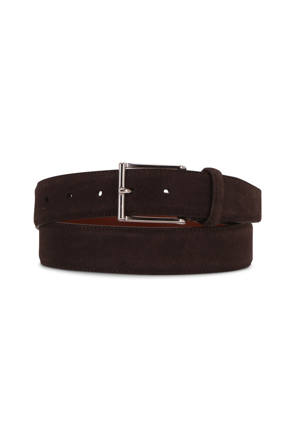 Santoni Chocolate Brown Suede Belt