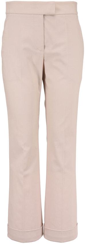 Brunello Cucinelli Oat Stretch Cotton Cropped Kick Flare Pant