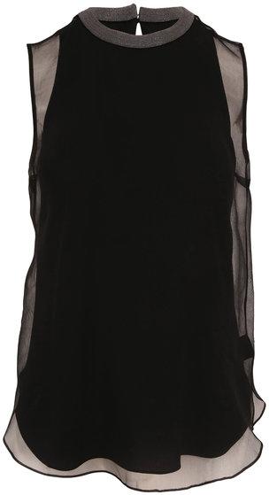 Brunello Cucinelli Black Crispy Silk Double-Layer Sleeveless Blouse